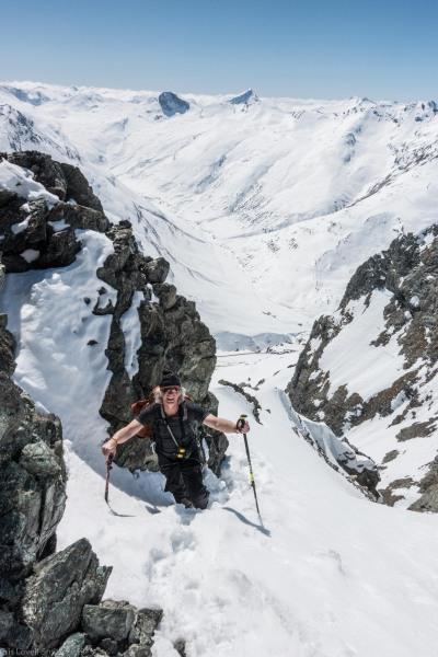 Elmar walking through the snow (Ski touring Avers March 2019)