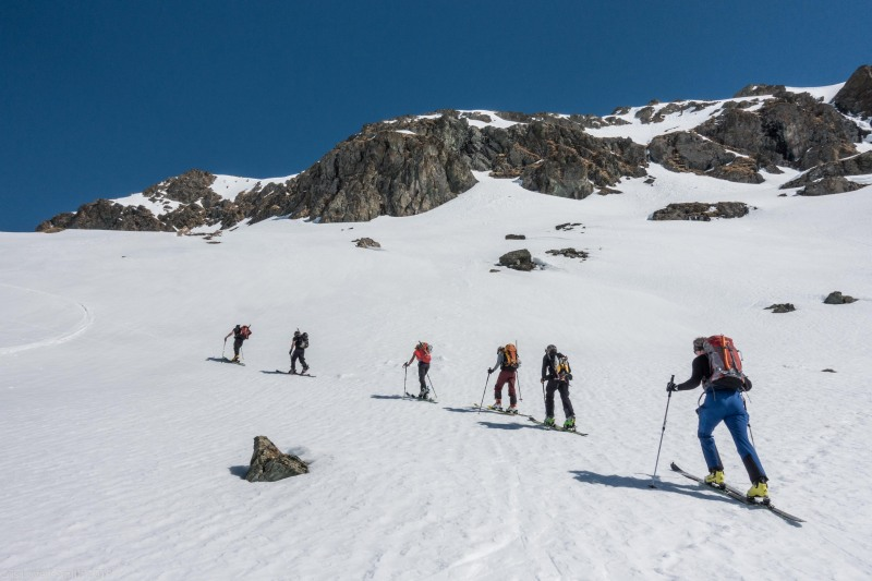 Heading up the hill (Ski touring Avers March 2019)