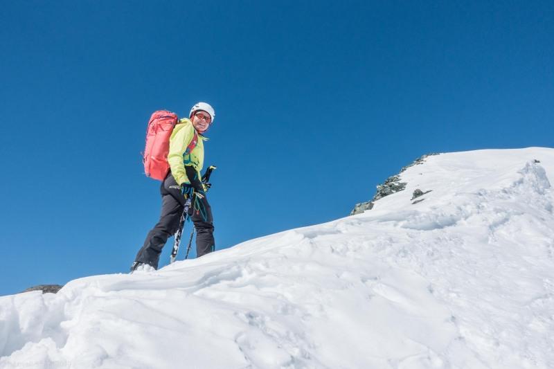 Helga nearing the summit (Ski touring Avers March 2019)