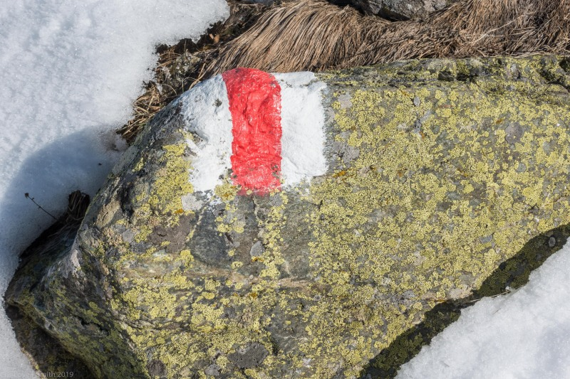 Rock with hiking marker (Ski touring Avers March 2019)
