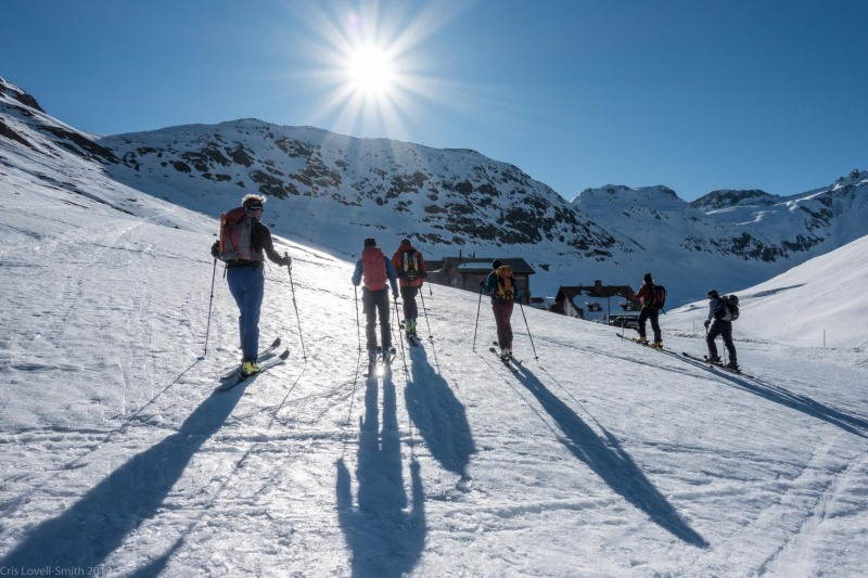Setting off on Day 4 (Ski touring Avers March 2019)