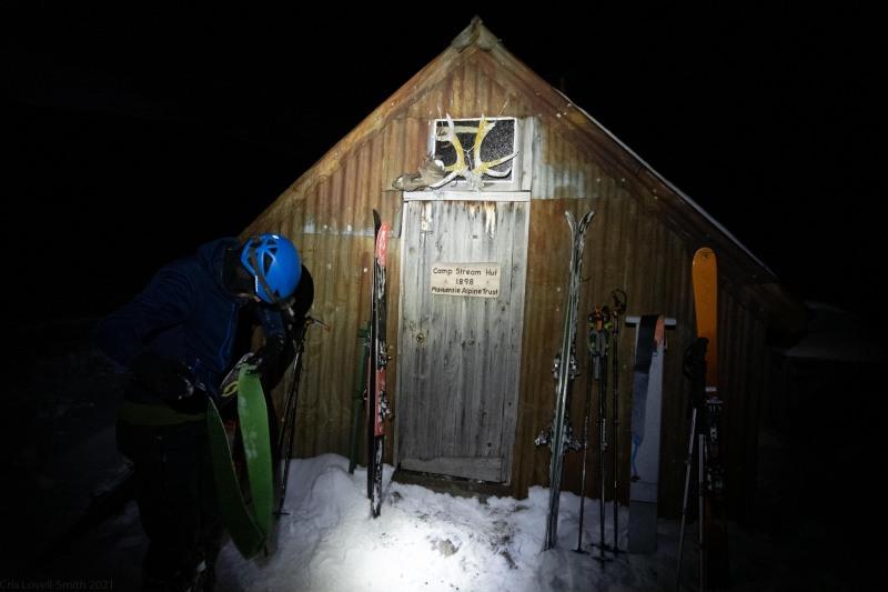 Arriving at Camp Stream Hut (Ski Touring Camp Stream Hut Aug 2021)