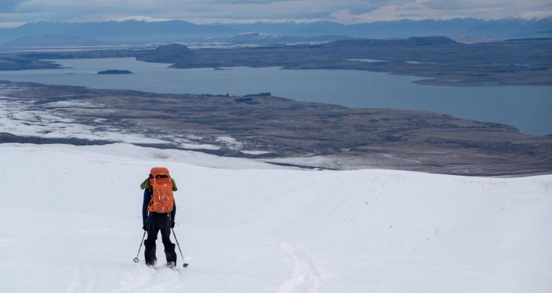 Craig skiing down to the hut (Ski Touring Camp Stream Hut Aug 2021)