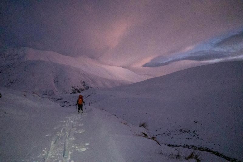 Craig skinning to the hut (Ski Touring Camp Stream Hut Aug 2021)