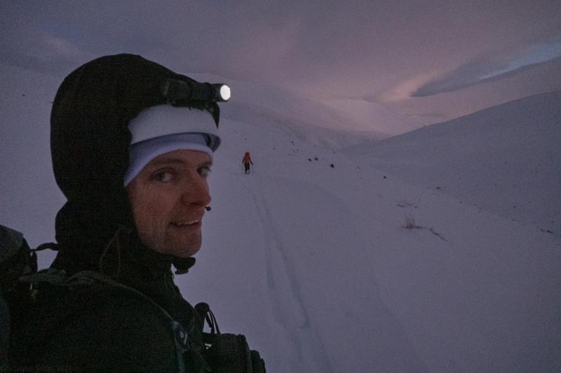 Skinning to the hut (Ski Touring Camp Stream Hut Aug 2021)