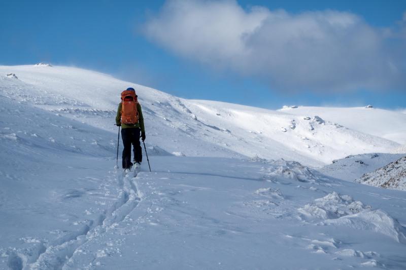 Skinning up the valley (Ski touring Kirtle Burn Hut August 2021)