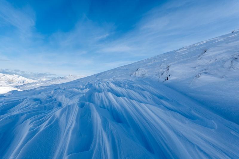 Wind swept snow (Ski touring Kirtle Burn Hut August 2021)