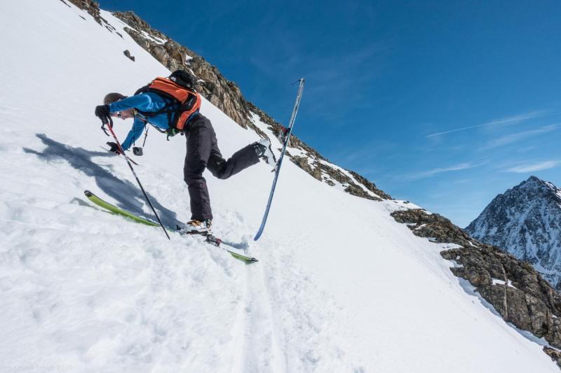 Brendan executing a kick turn (Skitouring Kuehtai March 2019)