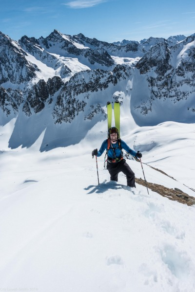Brendan sinking in as he carries his skis (Skitouring Kuehtai March 2019)