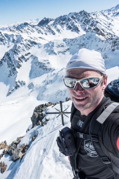 Cris at the summit of Sulzkogel (Skitouring Kuehtai March 2019)