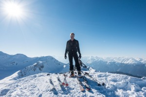 Cris on the summit of Vordere Karlesspitze (Skitouring Kuehtai March 2019)