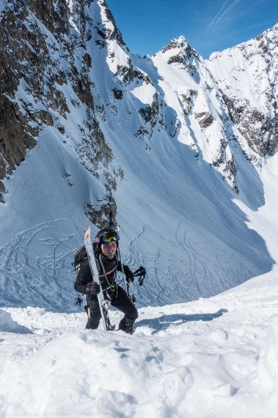 Johannes and skis (Skitouring Kuehtai March 2019)