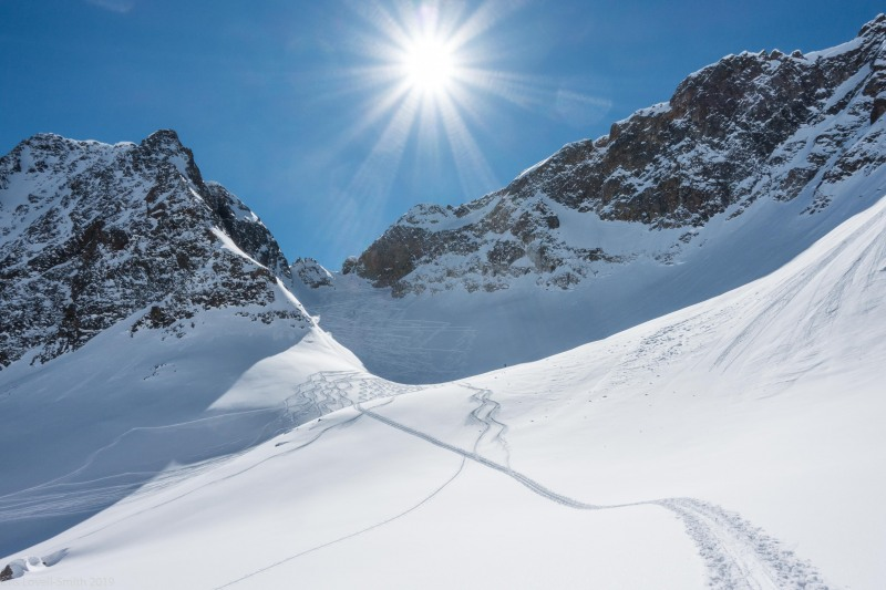 Looking up towards the Wechnerscharte (Skitouring Kuehtai March 2019)