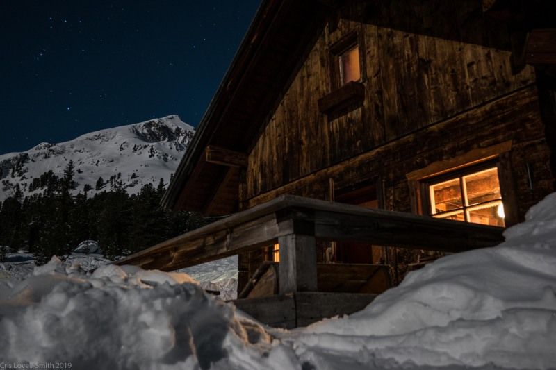 The hut by night (Skitouring Kuehtai March 2019)
