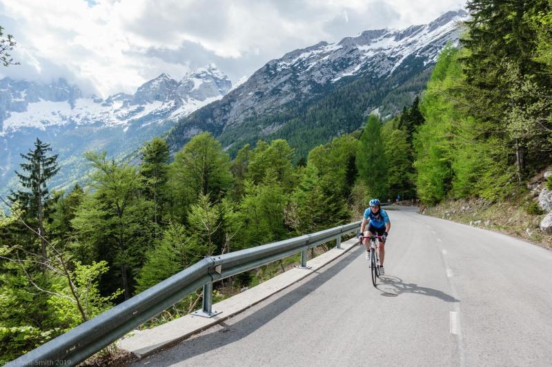 Leonie cycling up Vršič Pass (Slovenia 2019)