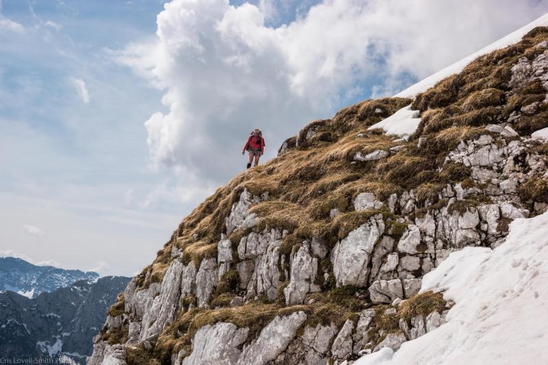 Leonie walking on a rocky outcrop (Slovenia 2019)