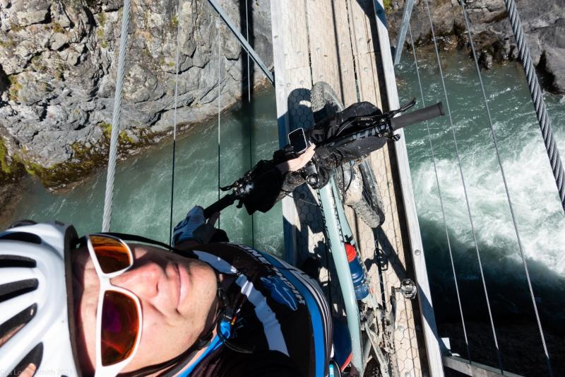 Crossing on a swing bridge (Cycling St James)
