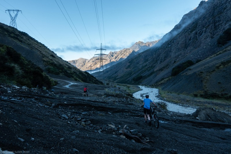 Crossing the debris flows (Cycling St James)