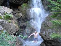 Cris in a waterfall (Swiss O Week, Switzerland)