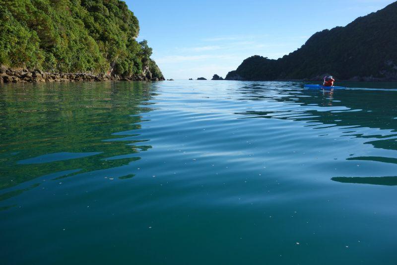 Dad kayaking towards Tata Island (Takaka 2013)