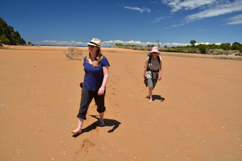 Holly and Mum walking in the Totaranui Lagoon (Takaka 2013)