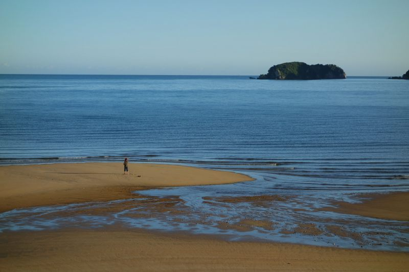 Mum on the beach in Ligar Bay (Takaka 2013)