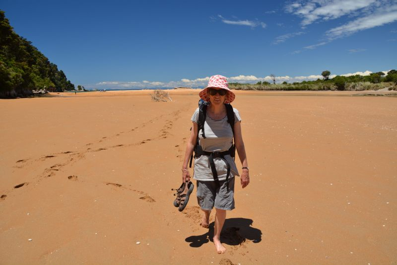 Mum walking in the Totaranui Lagoon (Takaka 2013)