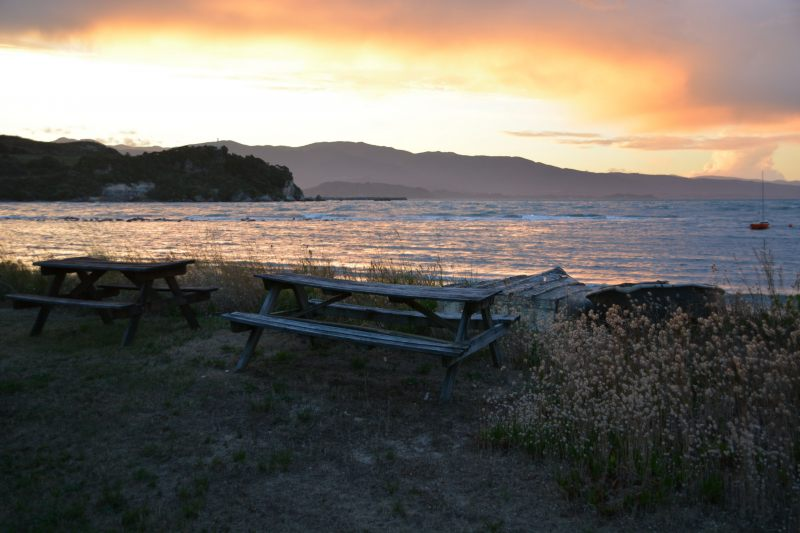 Picnic tables in the evening (Takaka 2013)