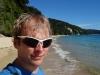 Cris on the beach at Goat Bay (Takaka 2013)