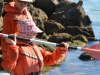 Mum gives kayak instruction (Takaka 2013)