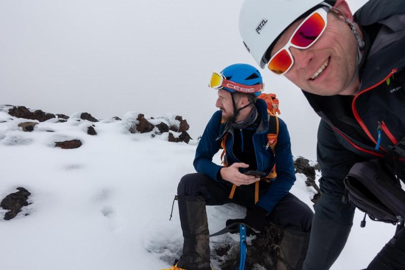 At the summit of Mt Tongariro (Tongariro Adventures July 2021)