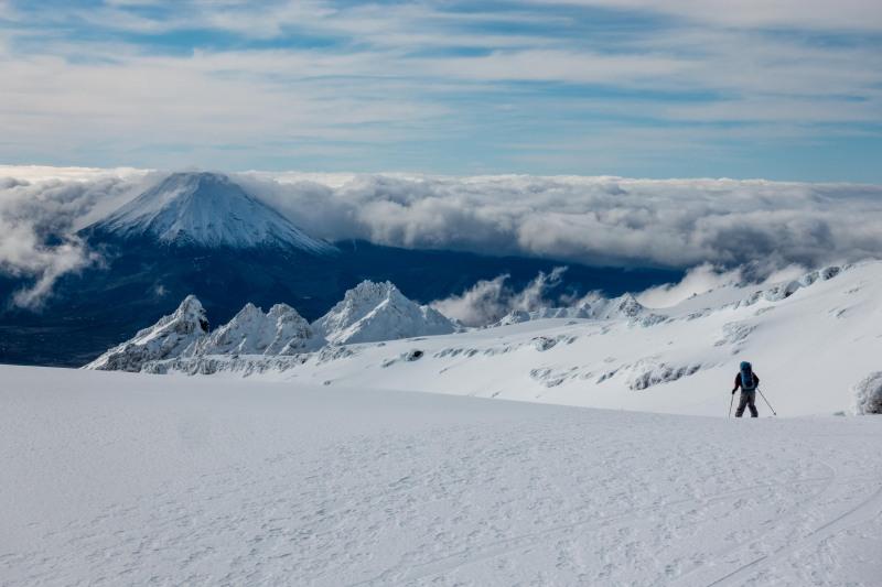 Skiing down (Tongariro Adventures July 2021)