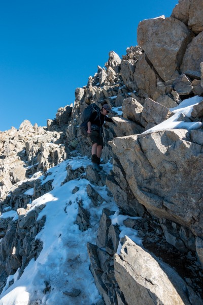 Annu navigating the ridge (Tramping Angelus Hut May 2021)