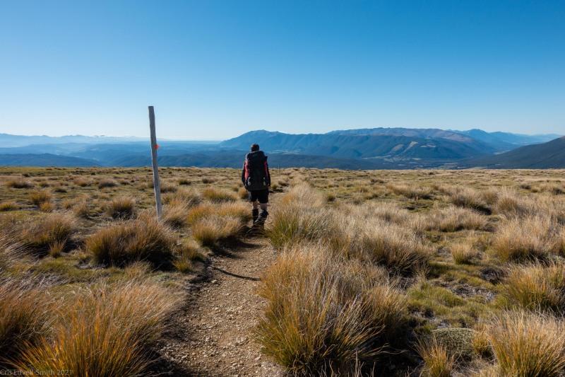 Craig walkking (Tramping Angelus Hut May 2021)