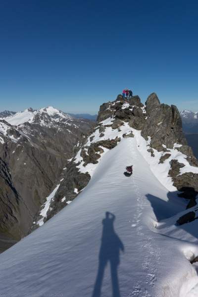 Em, Clare, and Chris on Mt Mackenzie Summit 2 (Hopkins Valley Tramp Jan 2015)
