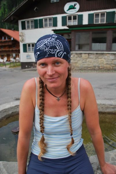 Frauke after tramping (Tramping Schrecksee, Germany)