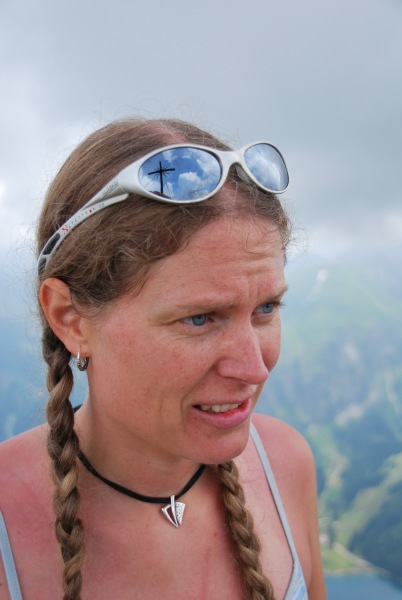Frauke with cross in glasses (Tramping Schrecksee, Germany)
