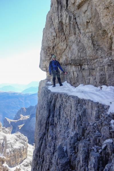 Cris on the pathway (Brenta Dolomites)