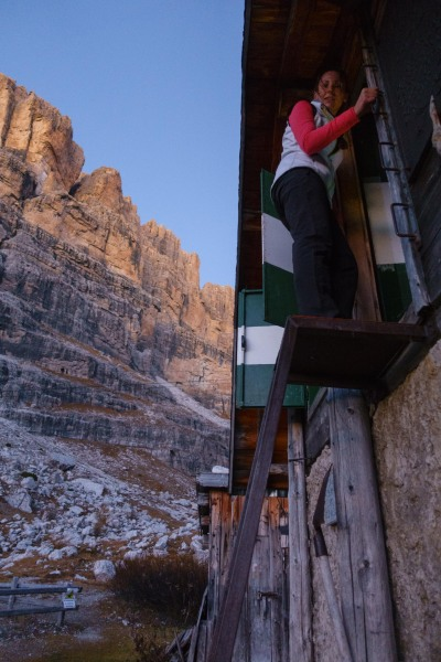 Leonie climbing into the biv (Brenta Dolomites 2016)