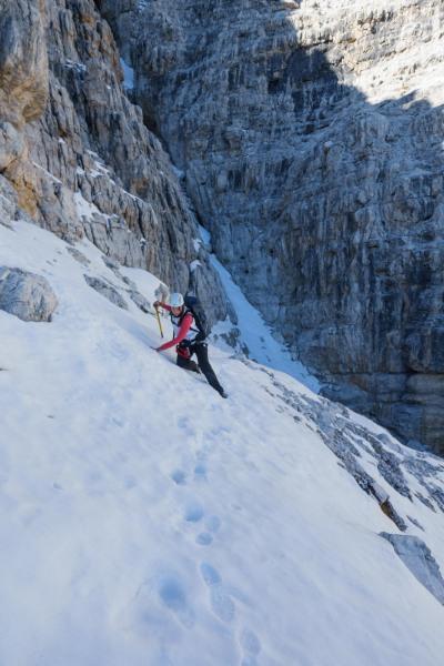 Leonie crossing a tricky bit (Brenta Dolomites)