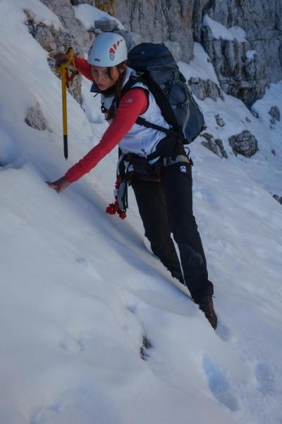 Leonie edging across the snow (Brenta Dolomites)