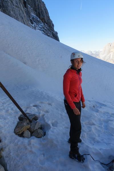 Leonie getting ready to start the via ferrata (Brenta Dolomites)