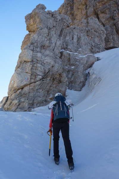 Leonie nearing the ladders (Brenta Dolomites)