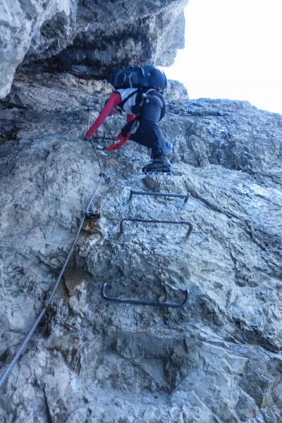 Leonie on a ladder (Brenta Dolomites)