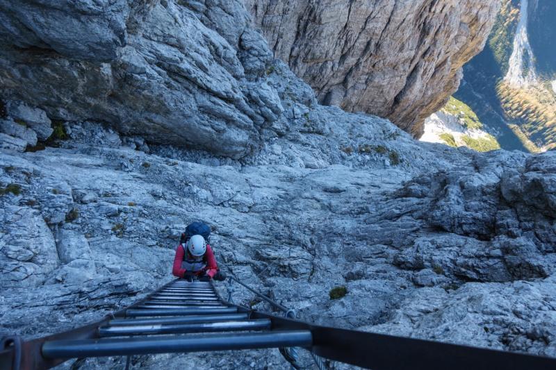 Leonie on a very long ladder (Brenta Dolomites 2016)
