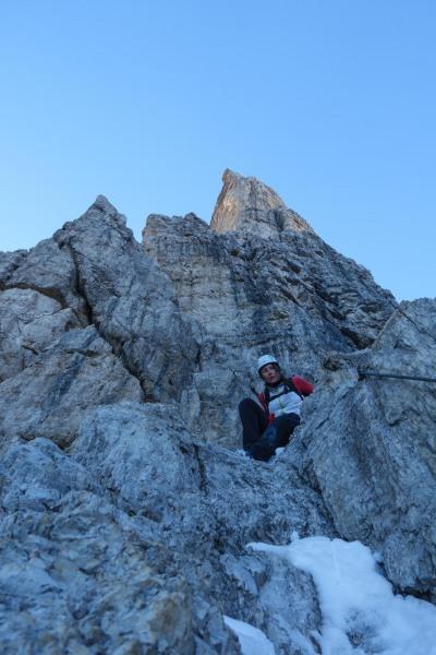 Leonie on rock (Brenta Dolomites)