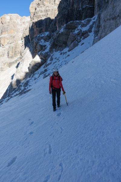 Leonie on the snow (Brenta Dolomites)