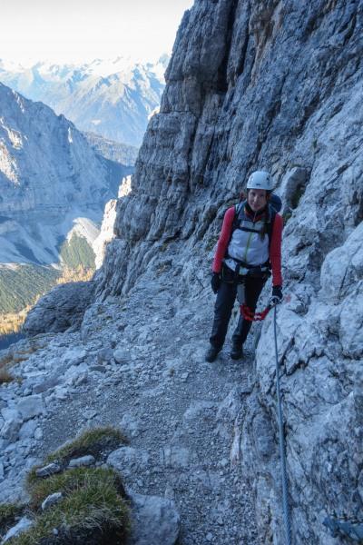 Leonie on the via ferrata (Brenta Dolomites 2016)