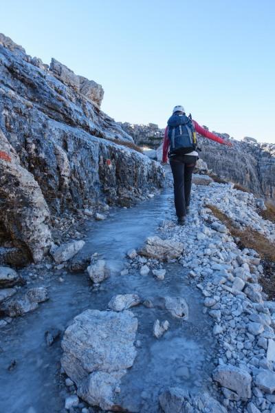 Leonie walking along an icey path (Brenta Dolomites 2016)