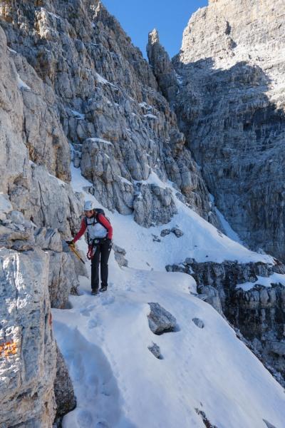 Leonie walking along the tricky path (Brenta Dolomites)